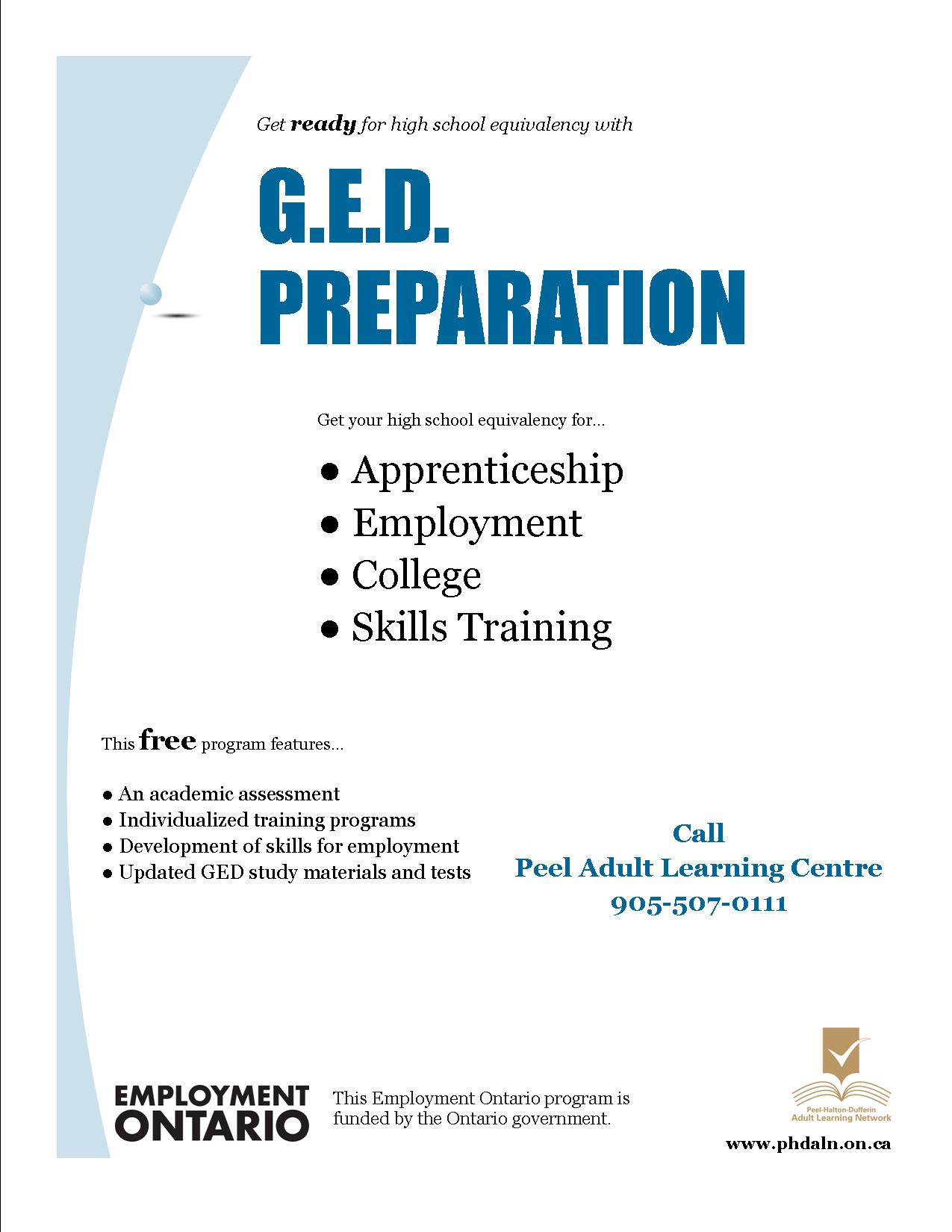 Peel Adult Learning Centre flyer